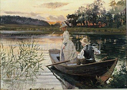 Amalia Lindergren: Angeln am See. 1888