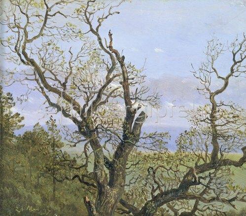 Carl Gustav Carus: Knorrige Eichen im Frühling.