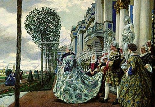 Jevgeny Jevgenewitsch Lansere: Kaiserin Elisabetha Petrowna (Tochter Peteres des Grossen) in Zarskojo Selo.