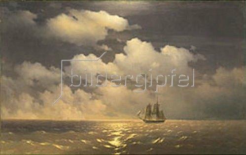 Iwan Konstantinovich Aiwassowskij: Das russische Schiff 'Merkuri' nach dem Sieg über die türkische Flotte.