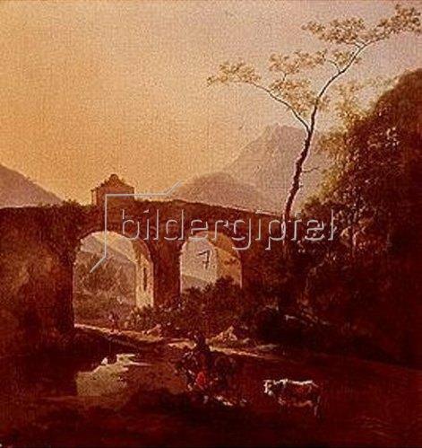Adam Pynacker: Landschaft italienischen Charakters mit Brücke.  Lwd., 80 x 75 cm