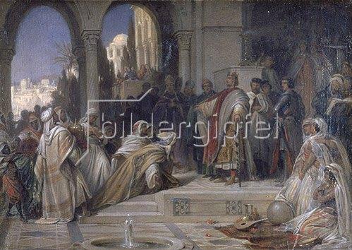 Arthur Georg Frhr.v Ramberg: Empfang einer arabischen Gesandtschaft am Hof Kaiser Friedrichs II.in Palermo.