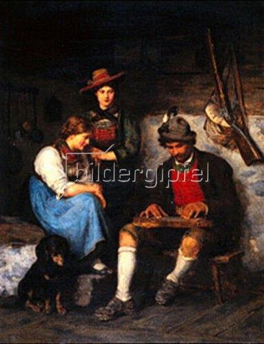 Franz von Defregger: Zitherspieler in der Almhütte mit zwei Mädchen. 1876.
