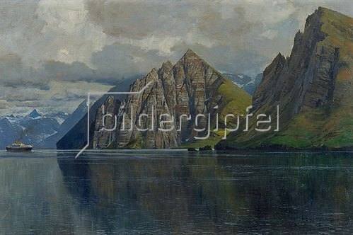 Zeno Diemer: Nordlandfjord mit einem Dampfschiff. 1905.