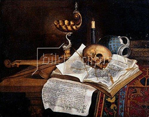 Deutsch: Vanitasstillleben. 1643.
