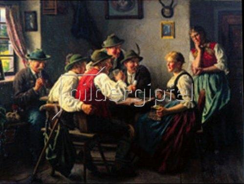 Karl Emil Rau: Zwei Dirndl, vier Burschen und ein alter Bauer.