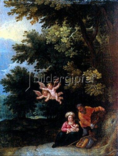 Jan Brueghel d.J.: Die hl.Familie bei der Ruhe auf der Flucht nach Ägypten.