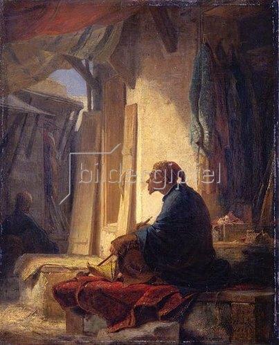 Carl Spitzweg: Türke, im Basar auf einer mit Teppich belegten Ruhebank sitzend. 1853.