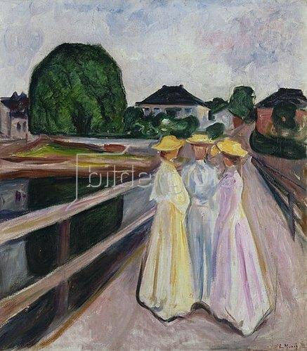 Edvard Munch: Drei Mädchen auf der Brücke. Um 1935