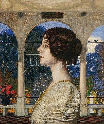 Franz von Stuck: Weibliches Portrait, in der Säulenhalle. 1905.