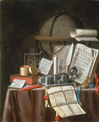 Edwaert Colyer: Stillleben mit Manuskripten, Kerze, Globus und silbernem Schreibgeschirr.