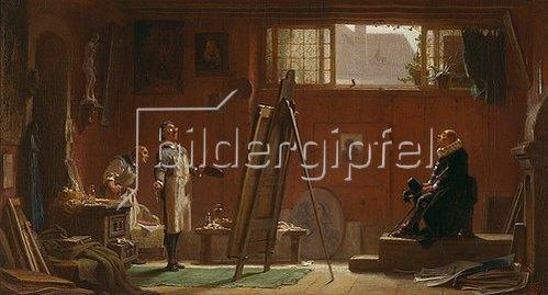 Carl Spitzweg: Der Portraitmaler. Um 1858