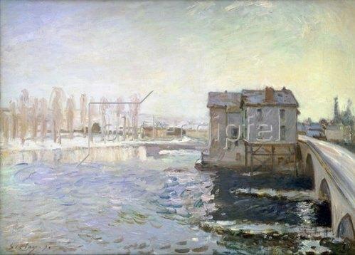 Alfred Sisley: Wassermühle an der Brücke von Moret im Winter. 1890.