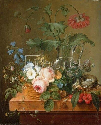Pierre Joseph Redouté: Rosen, Anemonen in Glasvase, andere Blumen, Kirschen und Vogelnest.