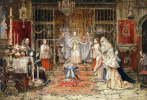 José Benlliure y Gil: Kirchliche Zeremonie zum Feste Santa Maria della Rosa.