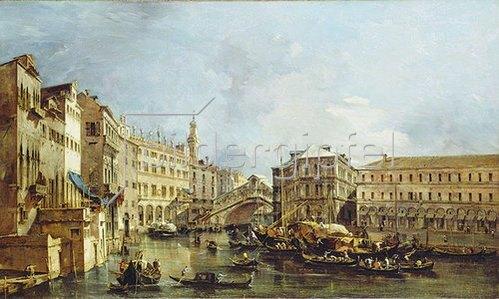 Francesco Guardi: Blick auf den Rialto und den Palazzo dei Camerlenghi.