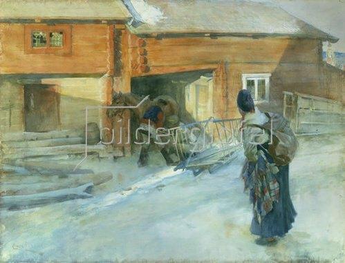 Carl Larsson: Winterlicher Bauernhof in Bingsjo.