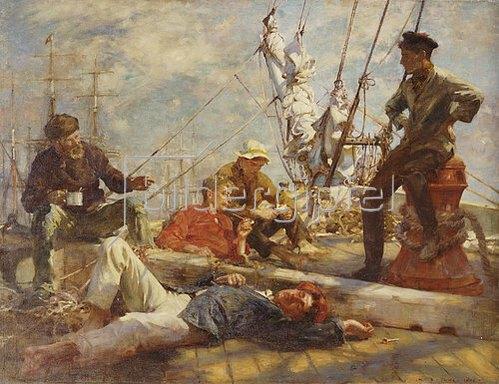 Henry Scott Tuke: Mittagsrast auf dem Segler. 1906