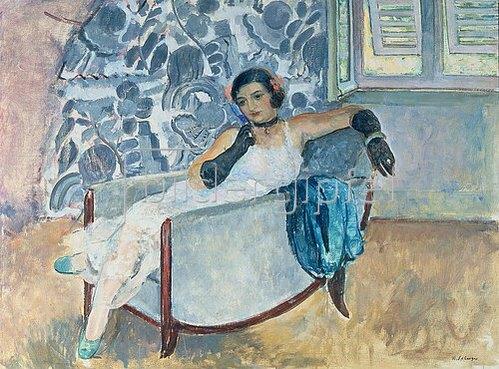 Henri Lebasque: Dame mit schwarzen Handschuhen, in einem Sessel sitzend. Um 1930