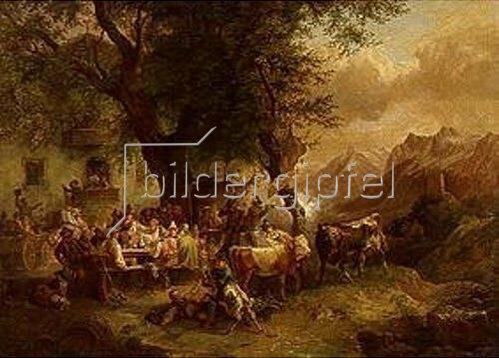 Julius Lindner: Tiroler Scheibenschießen bei Meran. Nach Ferdinand G. Waldmüller