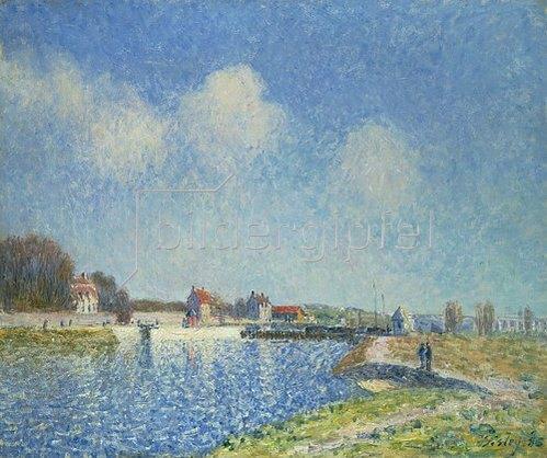 Alfred Sisley: Die Schleuse von Saintes Mammes. 1885