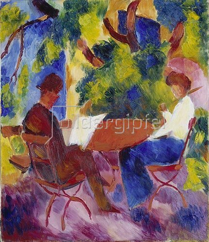 August Macke: Paar am Gartentisch.