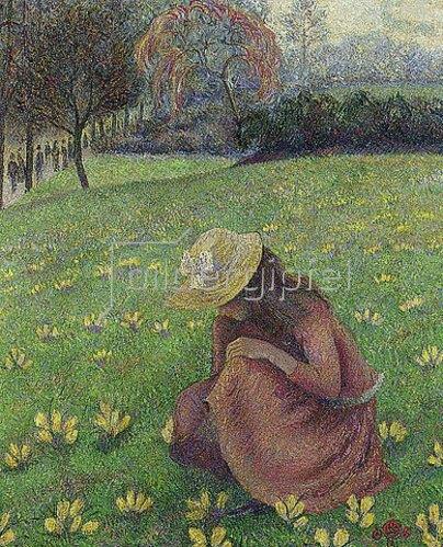 Lucien Pissarro: Frühlingslandschaft mit blühendem Krokus. 1891