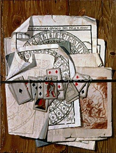 Egidio Maria Bondoni: Trompe l'oeil mit verschiedenen Drucken und Spielkarten.