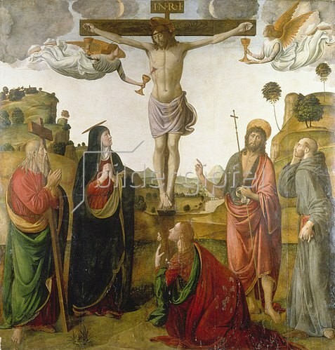 Cosimo Rosselli: Kreuzigung Christi mit Maria und den hll. Johannes, Maria Magdalena, Andreas und Franziskus.