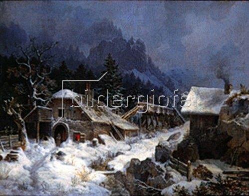 Heinrich Bürkel: Schmiede im Winter. 1836