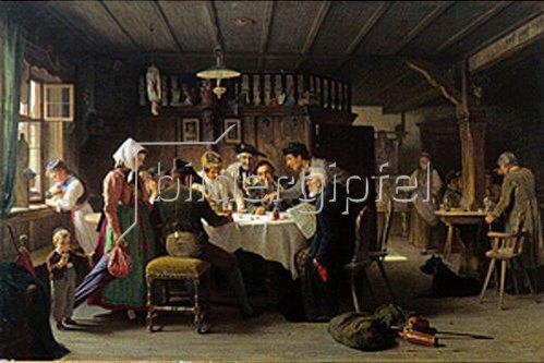Max Kaltenmoser: Würfelspieler in einem Schwarzwälder Wirtshaus. 1873.