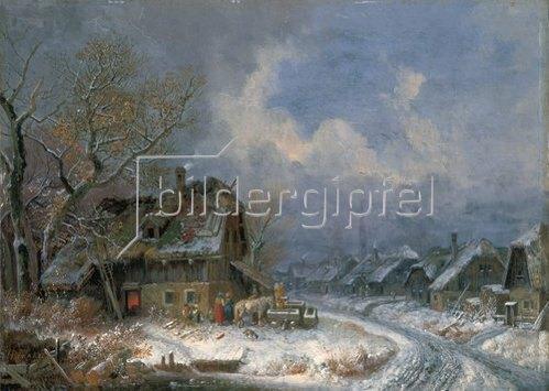 Heinrich Bürkel: Winterliches Dorf.