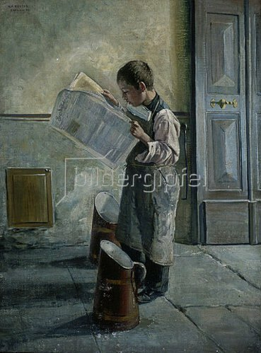 Willibald Alfred Reuter: Zeitunglesender junger Wasserträger. 1893