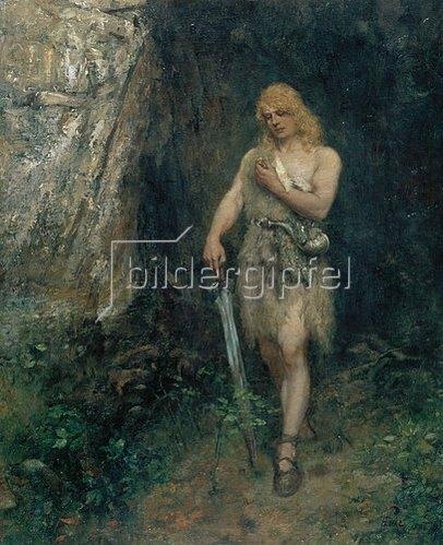 Ferdinand Leeke: Siegfried vor Fafners Höhle mit dem Ring und dem Schwert Notung.