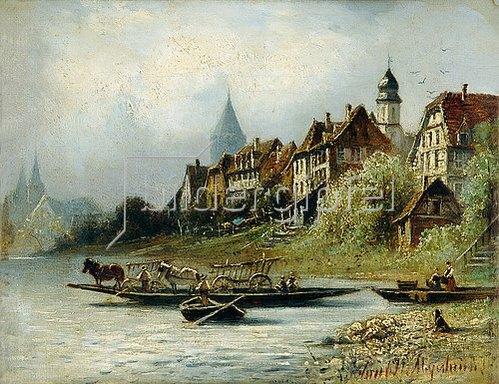 Friedrich Eduard Meyerheim: Blick auf Jagstfeld am Neckar