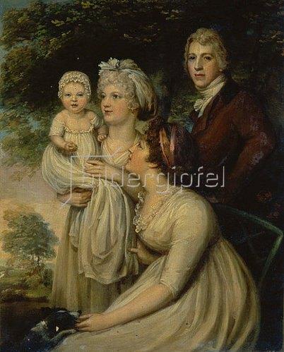 Englisch: Junges Paar mit Kind und Amme.