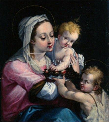 Süddeutsch: Maria mit Kind und dem Johannesknaben.