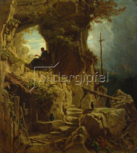 Carl Spitzweg: Der Einsiedler (Bene vixit qui bene latuit). 1850.