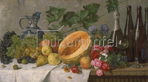 August Jernberg: Früchtestillleben mit Trauben, Birnen, Äpfeln und Melone, sowie Weinflaschen.
