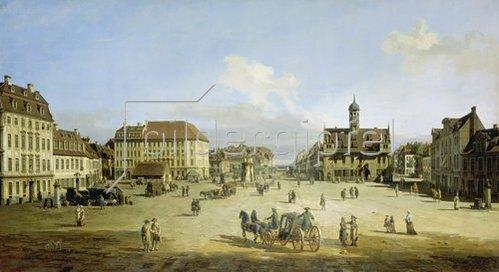 Bernardo (Canaletto) Bellotto: Der Marktplatz in der Neustadt von Dresden. Um 1751/52