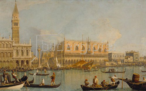 Canaletto (Giov.Antonio Canal): Der Dogenpalast und die Piazetta in Venedig.