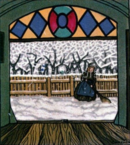 Carl Krenek: Schneekehrende Frau.  Weihnachtskarte der Wiener Werkstätten, No.762