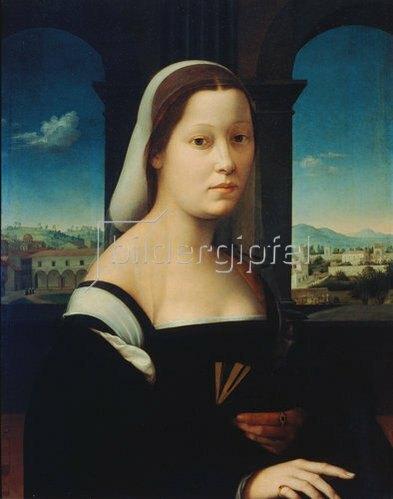"Ridolfo Ghirlandaio: Portrait einer jungen Frau, ""La Monaca""."