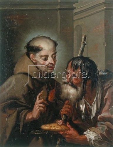 Franz Sebald Unterberger: Der hl. Petrus Regaladis speist einen Bettler mit Brot. 1740