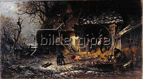 Albert Kappis: Winterarbeit auf dem Bauernhof (Dreschen auf der Tenne). 1877.
