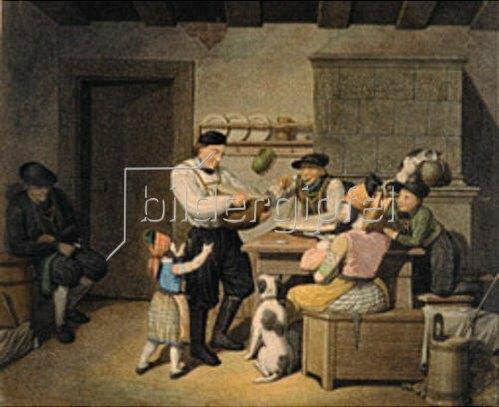 Georg Emanuel Opitz: Bauernfamilie bei der Mahlzeit. Um 1830.