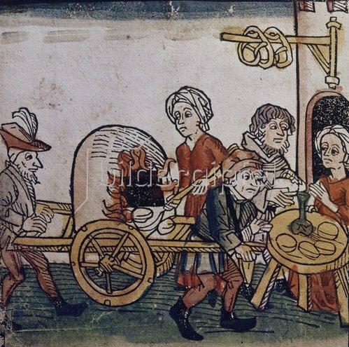 Augsburgisch: Verkauf von Brötchen und Brezeln.