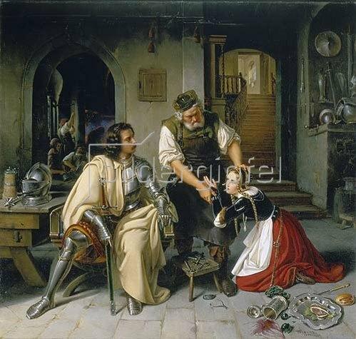 Wilhelm Nerenz: Die Begegnung in der Waffenschmiede (aus 'Käthchen von Heilbronn'). 1836