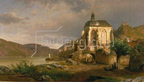 Johann G Pulian: Rheinlandschaft mit der Wernerkapelle bei Oberwesel.