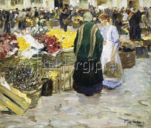 Max Stern: Blumenmarkt an der Rochuskirche in Düsseldorf.